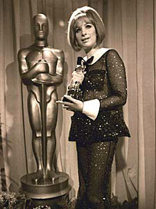Barbra Streisand with her Academy Award