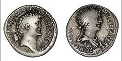 Cleopatra and Mark Anthony coin