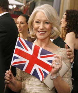 Helen Mirren with British Flag