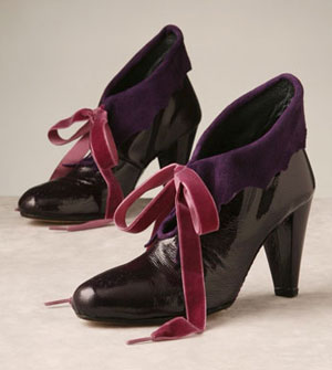 purple patent leather booties