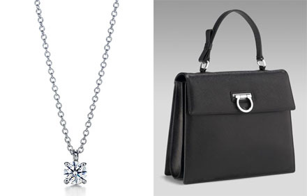 Tiffany pendant, Ferragamo purse