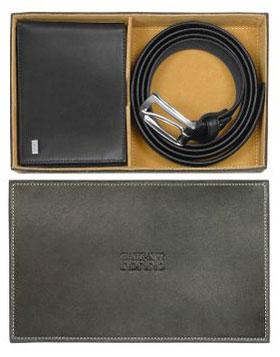 Gianfranco Ferre Black Signature Leather Billfold Wallet and BeltSet