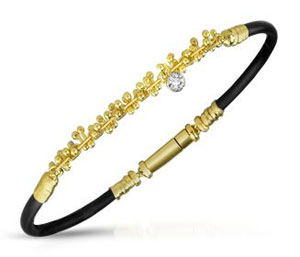 gold and rubber bracelet