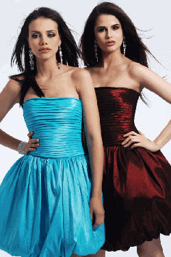 Clarisse short satin bubble prom dress