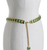 Kenneth Jay Lane green jeweledbelt