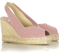 Castañer Gingham Espadrille Wedge Sandals
