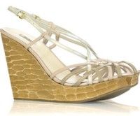 Miu Miu Pastel Basketweave Wedge Sandals
