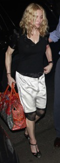 Madonna in satin shorts