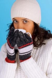 winter girl drinking