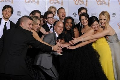 Cast of Glee with creator, writers and producers.