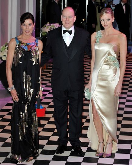 Princess Caroline of Hanover, Prince Albert II of Monaco, Charlene Wittstock at the 2010 Rose Ball in Monaco